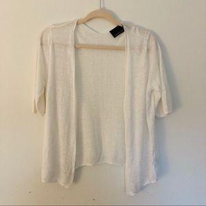 Cynthia Rowley 100% Linen Open-front Cardigan